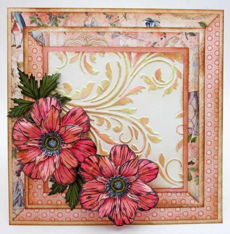 """Lori Williams designing for @CraftersCompUS  Stamp Sets Sheena Perfect Partners Victorian Floral Anemone Set  Metal Die : Sheena Perfect Partners Victorian Floral Anemone Die   Spectrum Noir Colors: CR2, CR5, CR6 and BG10, CT4   Spectrum Aqua Colors: Blossom   Other CC Products : 8"""" X 8"""" Embossalicious Embossing Folder - Regency Swirls"""