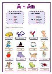 English worksheet: Articles: A or An: