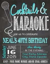 Adult Birthday Invitation - Karaoke Chalkboard