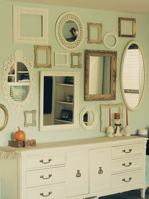 frames and mirrors: Decor Ideas, Mirror Mirror, Empty Frames, Wall Of Mirror, Galleries Wall, Mirrormirror, Mirror Wall, Frames Collage, Guest Rooms