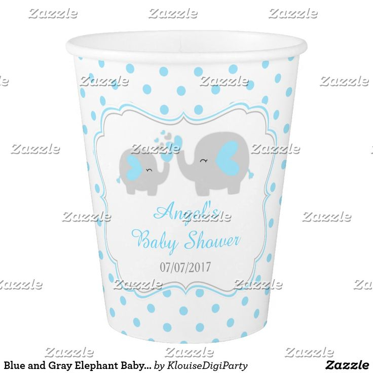 Blue and Gray Elephant Baby Shower Paper Cup