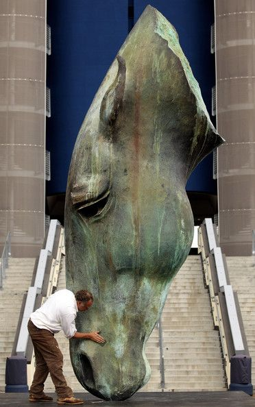 Nic Fiddian-Green Photo - Sculpture Of Horses Head Is Installed At Ascot Race Course