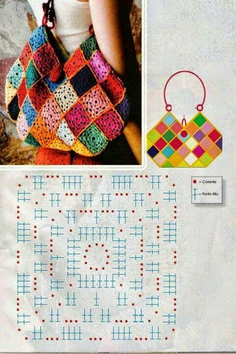 Crochet y Dos agujas: Qué linda cartera! / patrón y molde