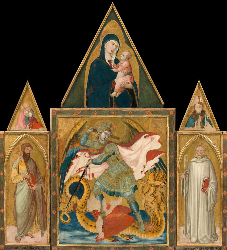 Ambrogio Lorenzetti - Rofeno Abbey Poliptych. Saint Michael the Archangel Slaying the Dragon Between Saint Bartholomew and Saint Benedict; Madonna with Child, Saint John the Evangelist and Saint Ludwig of Tolouse. 1330 - 1335