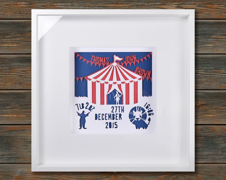 Circus - New Baby Birth Announcement - Framed personalised paper cut art (Large 52x52cm) by wallaceimagery on Etsy https://www.etsy.com/uk/listing/384686466/circus-new-baby-birth-announcement