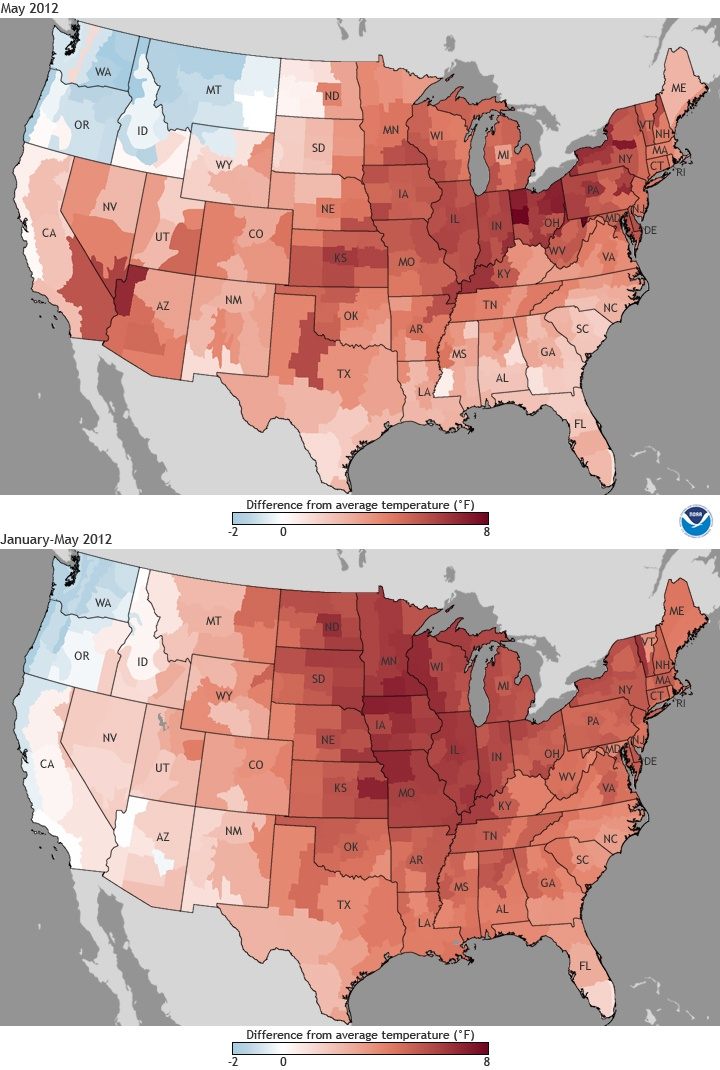 Two US maps showing difference from average