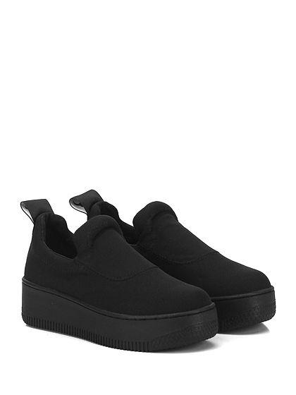 Windsor Smith - Sneakers - Donna - Sneaker in tessuto tecnico con logo su retro e suola in gomma. Tacco 50, platform 40 con battuta 10. - BLACK\BLACK - € 95.00