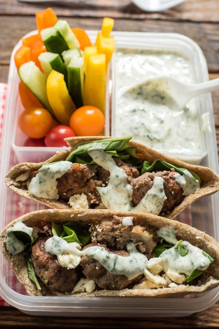 These Mediterranean Meatballs make an awesome pita sandwich with dill yogurt sauce, feta, and fresh veggies.