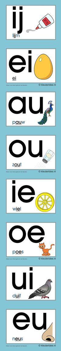 Letterkaarten voor kleuters tweeklanken 2, kleuteridee.nl , abc cards for preschool , free printable