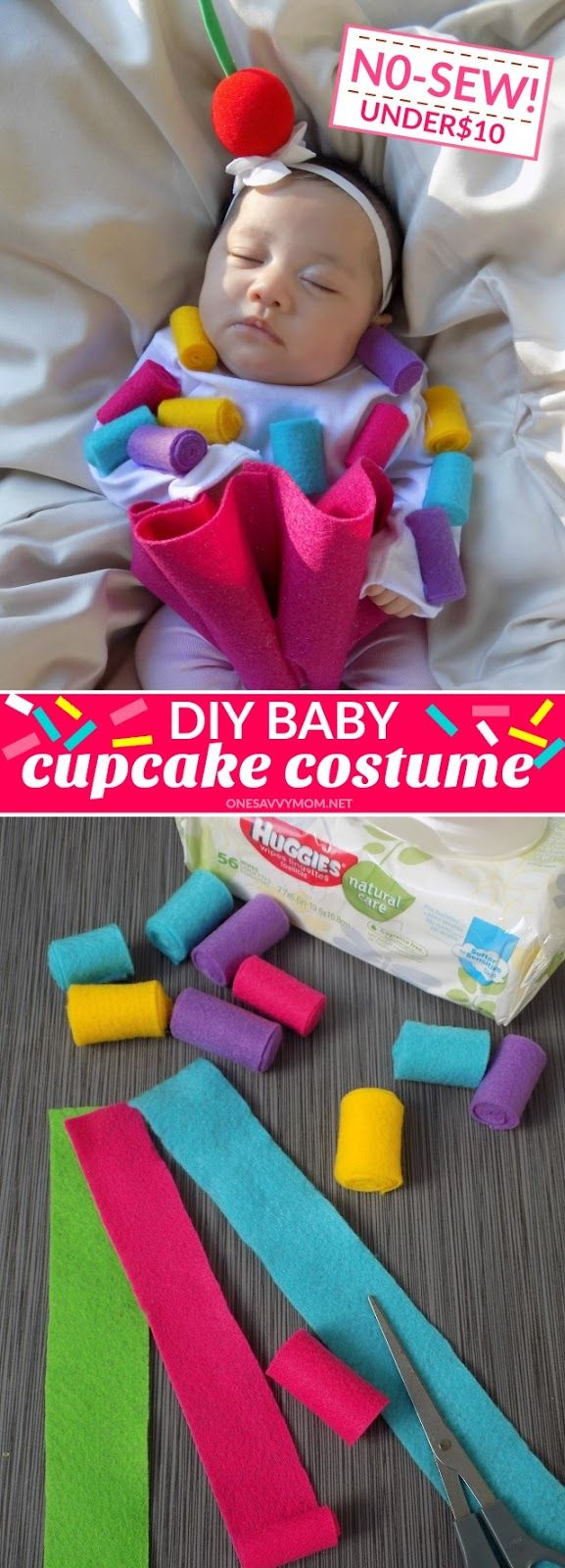 No-Sew DIY Baby Cupcake Costume Tutorial - Perfect For Baby's First Halloween  #BackToBabyBasics #ad