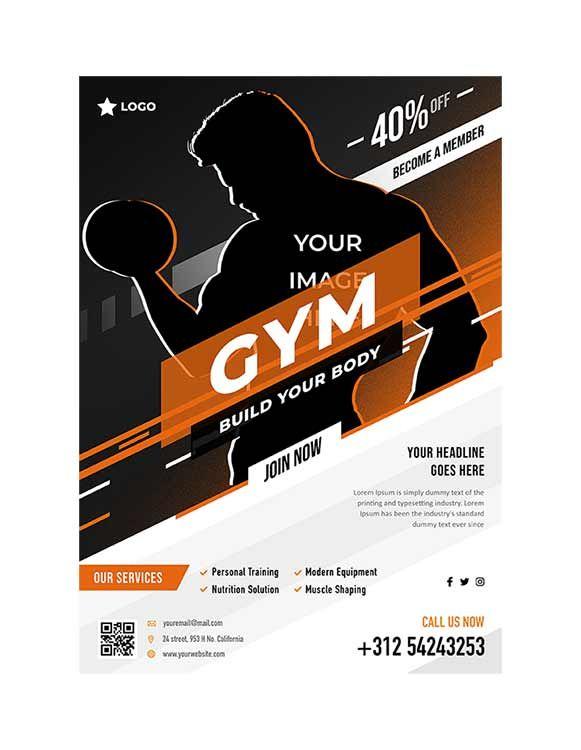 تحميل قالب بروشور Gym Psd مجانا Gym Body Brochure Psd Body