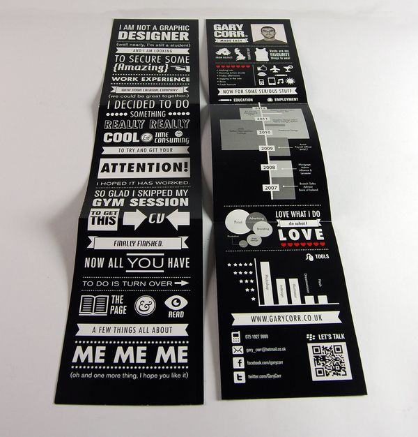 """""""AMS Design Blog: Branding : Gary Corr's Self-Promotional Material - Impressive!!"""" I like the use of info graphics, simple yet eye-catching engaging the reader in the simplest way making them want to read more."""