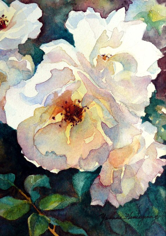 White Roses Painting-Original Watercolor Painting of White Roses-Home Decor…