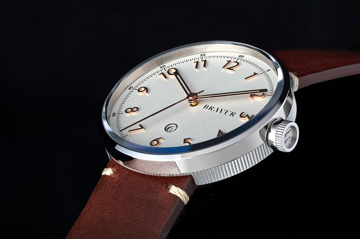 Bravur BW102 wrist watch with polished top bezel, applied rose gold numerals. Swiss Made. ETA quartz