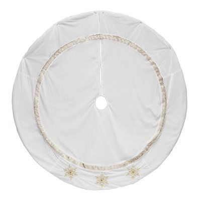 Holiday Living 56-in Snowflake White Velvet Tree Skirt