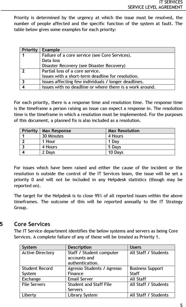 It Services Service Level Agreement Pdf In Disaster