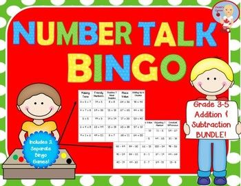 """Number Talk Bingo Bundle - Addition and Subtraction Category 1:  Great review activity for reinforcing the mental math strategies used in """"Number Talks"""" by Sherry Parrish!"""