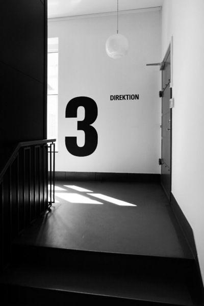 Numbers | 3 | Monochrome | Typography | Black | White | Industrial Hallway | Vintage Look | Warehouse Home Design Magazine