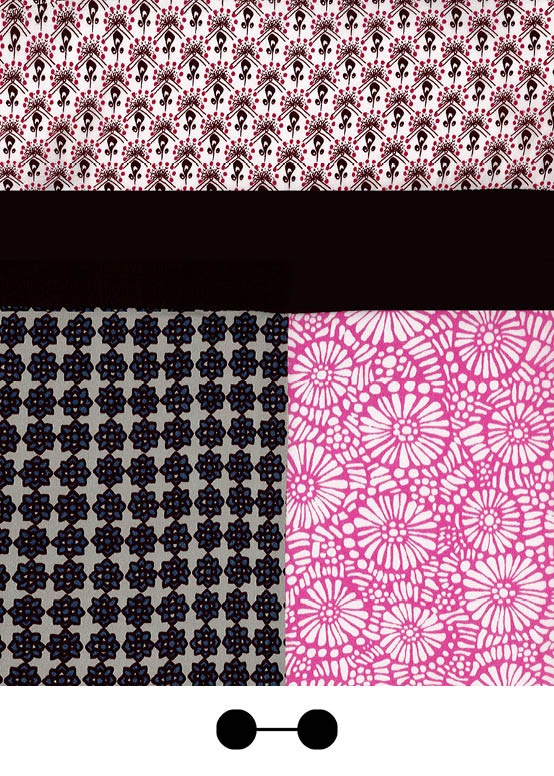 Mix of prints - Light pink print, neon pink print and pewter blue print | SS13