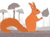 Grußkarte A5 ❘ Eichhörnchen ❘ Illustration