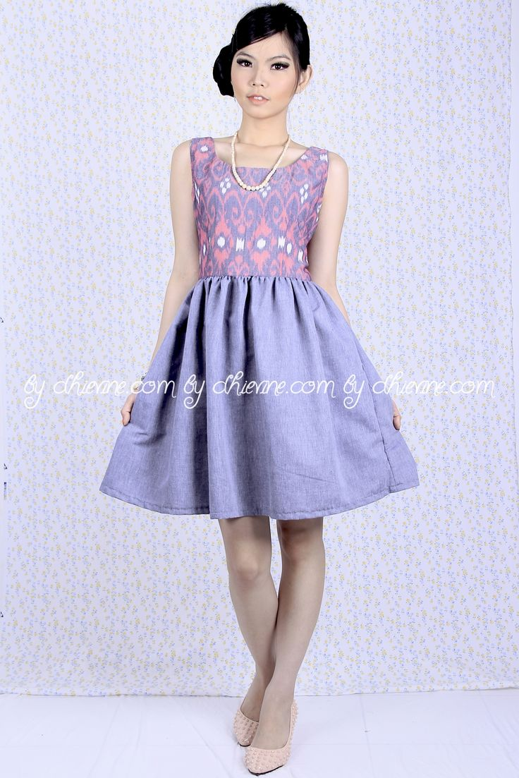Batik Dress | Lace Dress | Dress Kebaya Peony Grey Dress | DhieVine | Redefine You