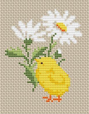 Chick and flower free cross stitch pattern