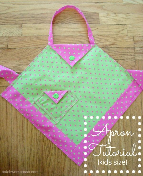 Apron Tutorial for the kids in the kitchen   patchworkposse.com #easysewingprojects #cooking