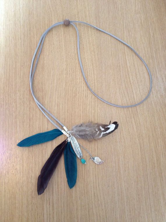 Bohemian headband suede with feathers