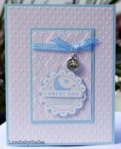 Handmade Stampin Up Sweet One Card for Baby Boy w Footprint Charm | eBay