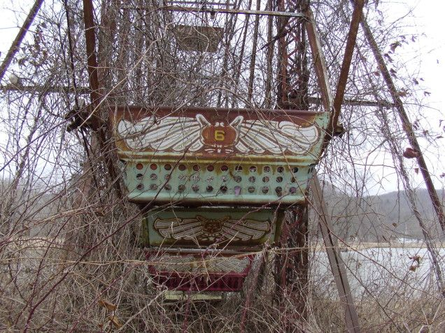 Lake Shawnee Amusement Park (abandoned) - supposedly haunted  4213 Beckley Road, Princeton, West Virginia 24740 USA ph. 304-921-1580 - Tours available - Links to story of Lake Shawnee, the cursed amusement park.