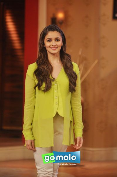 Alia Bhatt at the promotion of Hindi movie 'Highway' on the sets of Comedy Nights With Kapil at Film City in Mumbai