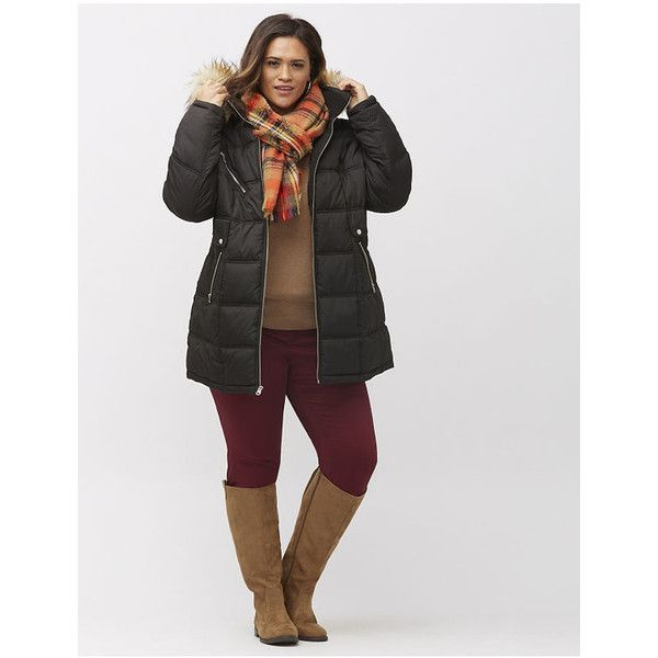 Lane Bryant Plus Size Puffer coat with fur trim, Women's, Size: 18/20,... ($180) ❤ liked on Polyvore featuring outerwear, coats, black, plus size, black turtleneck, plus size puffer coat, black coat, long black coat and long coat