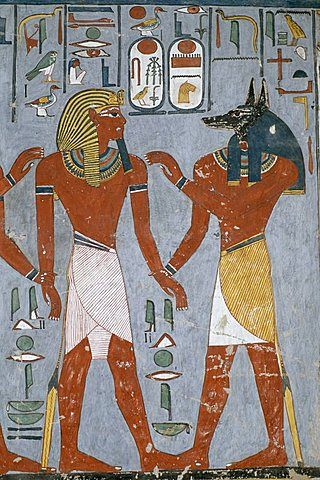 Tomb painting of the pharaoh Ramses I with the god Anubis, Valley of the Kings, UNESCO World Heritage Site, West Bank, Luxor, Thebes, Egypt, North Africa, Africa