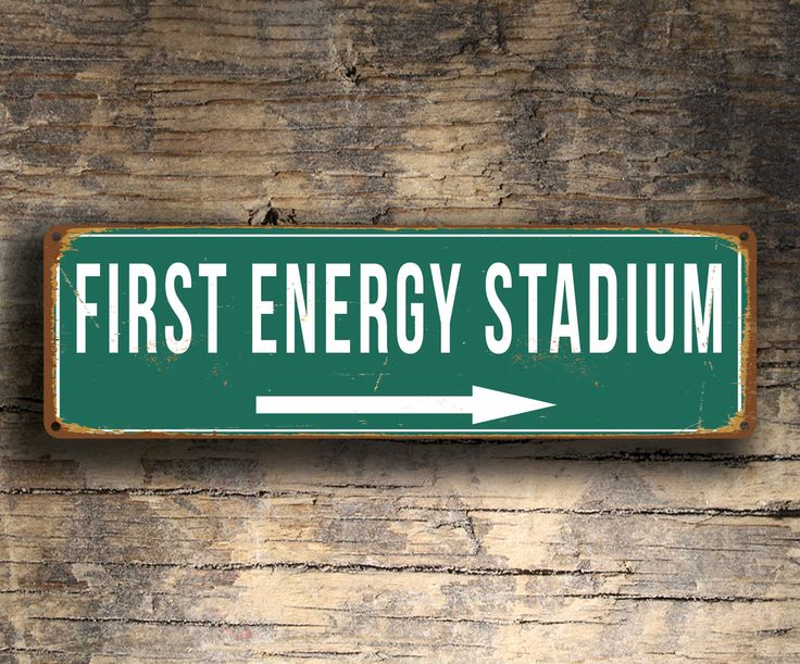 First Energy Stadium Sign Vintage Style http://www.classicmetalsigns.com/product/first-energy-stadium-sign-vintage-style/