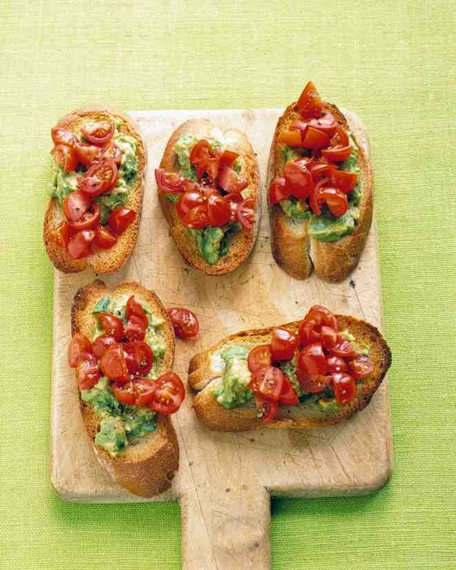 Appetizers are a must for any get-together, whether it be a backyard barbecue, casual game night, elegant cocktail party, or holiday get-together. These vegetarian appetizers are quick and easy to prepare so you can spend less time in the kitchen and more time with your guests. Mashed avocado and grape tomatoes make a colorful, delicious topping for crostini. Try roasting the tomatoes for an extra-special touch.