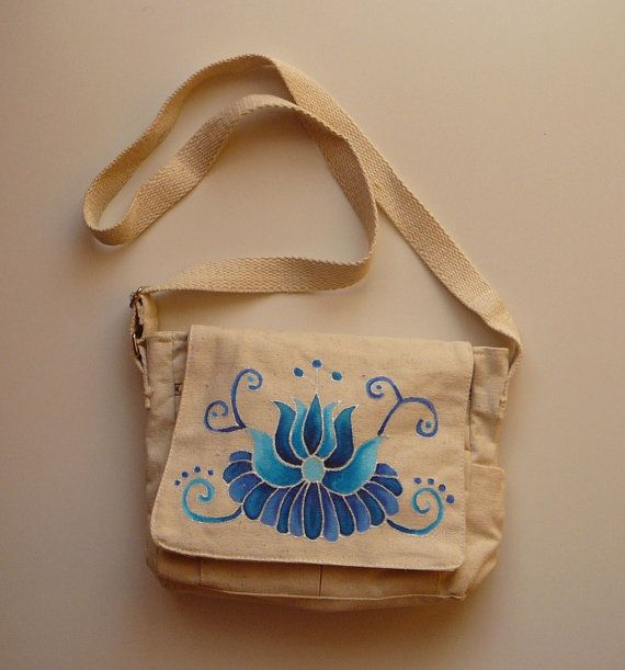 Hand painted practical cotton bag with Hungarian folk by ...