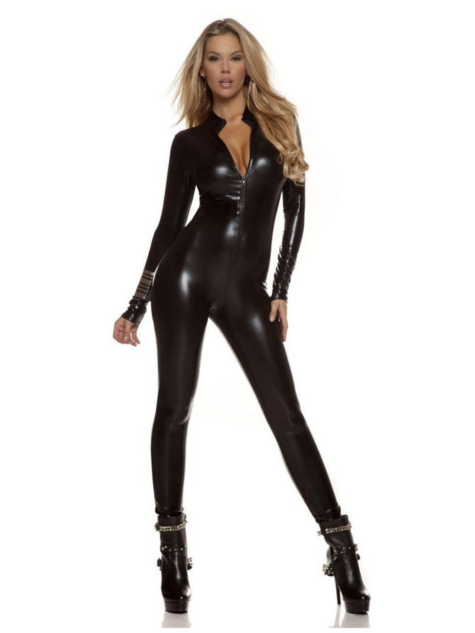 Wholesale prices on Women's Sexy Black Metallic Catsuit Costume for adults with same day shipping on our guaranteed website.