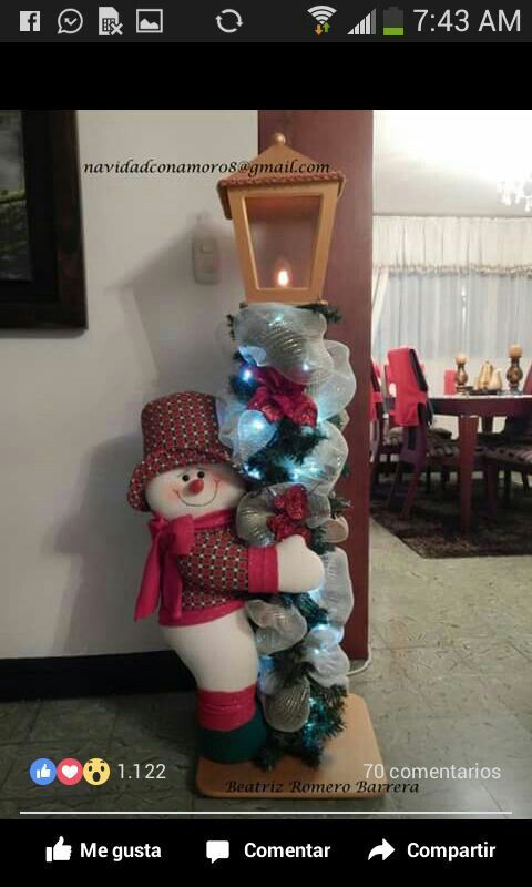Farol con muñeco de nieve