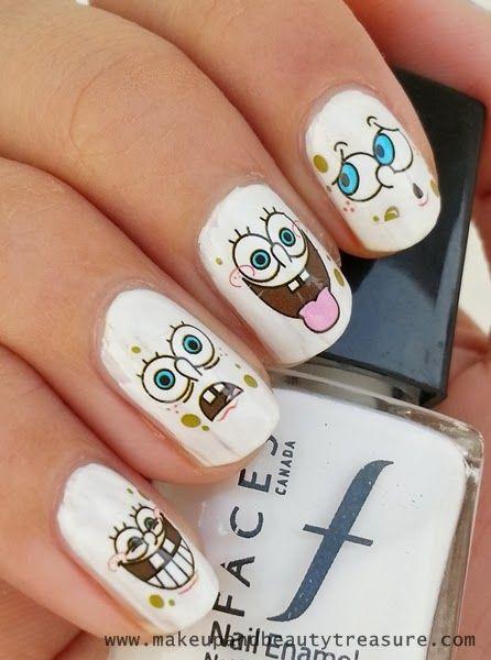 Best Cartoon Nail Art Images On Pinterest Cartoons Pop - Spongebob nail decals
