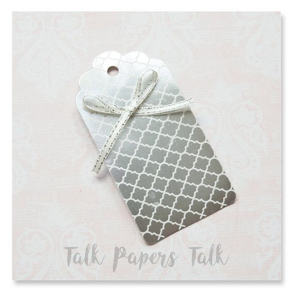 5 Silver wedding favor gift tags  Gift tags by TalkPapersTalk
