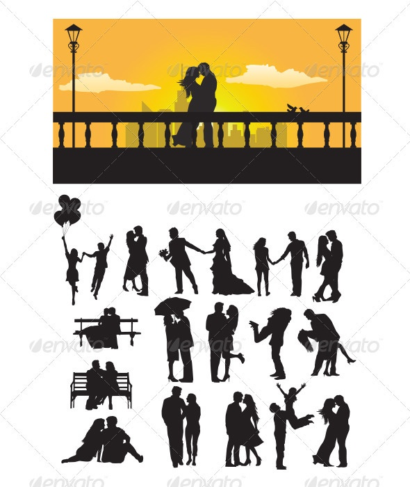 $4 Romantic Couple Silhouette - GraphicRiver Item for Sale