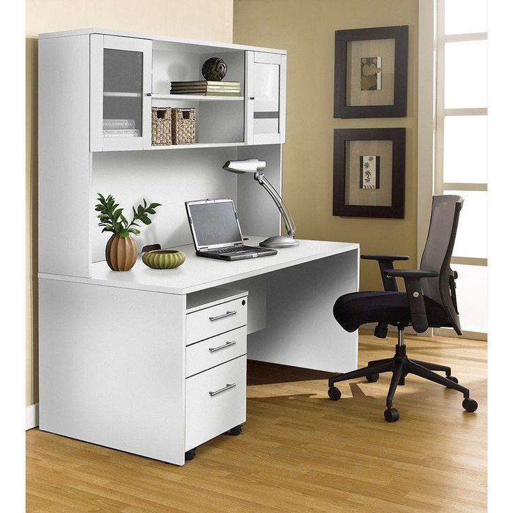 100 Series: Executive Office Desk with Hutch in White by Unique Furniture