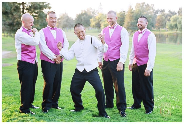 The groom having fun with his groomsmen at Chez Shari in Manteca, California. | Hot pink wedding inspiration | Summer wedding inspiration | Manteca_Wedding_Photographer_0136