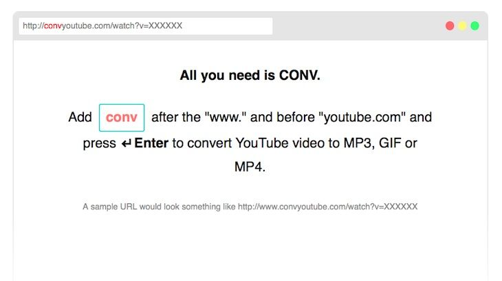 """#Youtube #CONV_ #conversor Herramienta para convertir vídeos de YouTube en MP3, GIF o MP4 añadiendo """"conv"""" a la URL"""