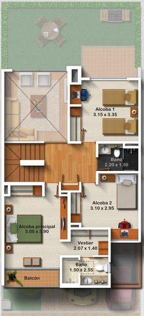 Las 25 mejores ideas sobre planos de casas peque as en for Habitaciones 3d gratis