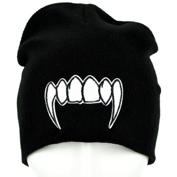 Vampire Fangs Beanie Monster Teeth Knit Cap ($9.99) ❤ liked on Polyvore featuring accessories, hats, knit cap beanie, beanie cap, knit caps hats, beanie hat and knit beanie