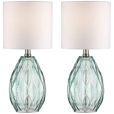 Rita Blue-Green Glass Table Lamp Set of 2
