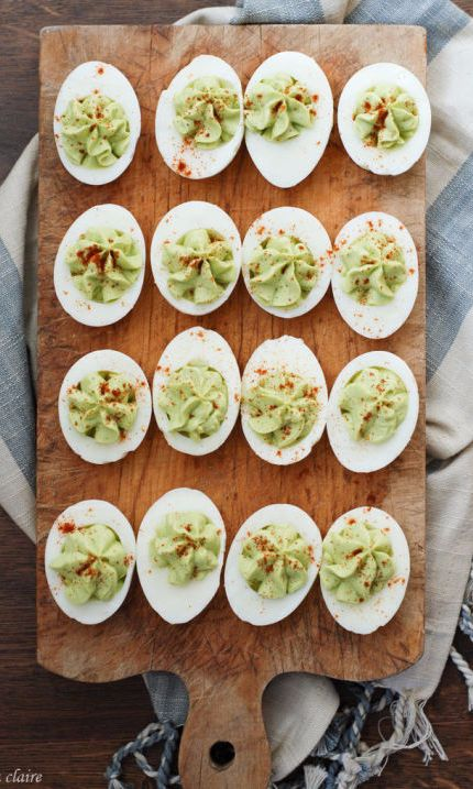 Swap mayo for creamy avocado for a healthier twist on a classic deviled eggs. Bonus: It's green! How perfectly spring.