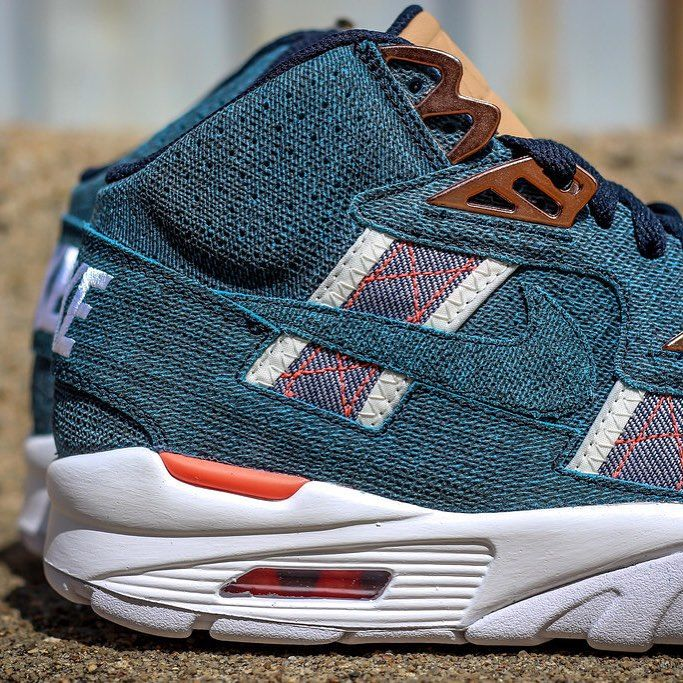 Nike dips the Air Trainer SC High in denim this summer.  See more of this makeup on #NiceKicks.com; link in bio.