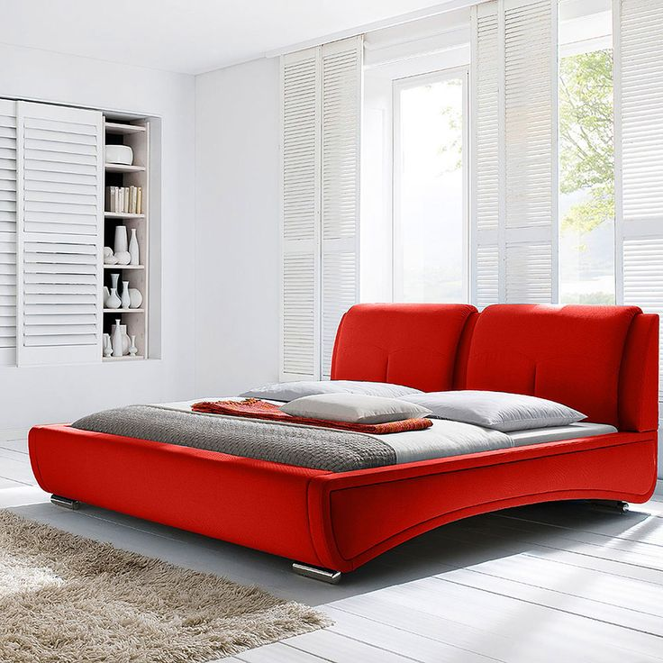 diamond sofa sydney queen bed in red fabric dia1670 - Queen Beds For Sale